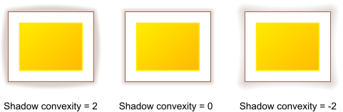 Convex, normal and concave shadows behind a colored rectangle with a white margin and a brown border