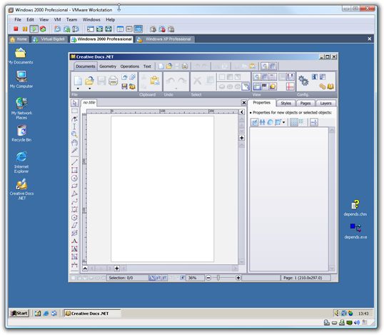Windows 2000 running in VMware Workstation